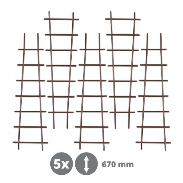 5 x Kunststoff Pflanzstütze in Leiterform - braun - 200 x 670 mm