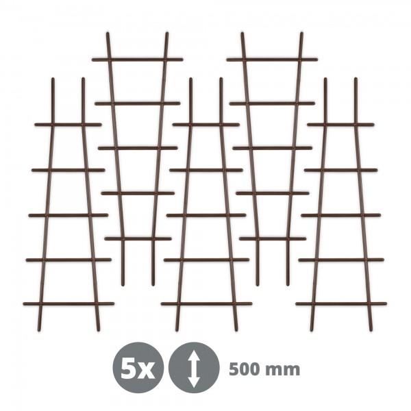 5 x Kunststoff Pflanzstütze in Leiterform - braun - 183 x 500 mm