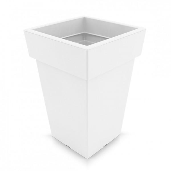 Kunststoff Blumentopf quadratisch - weiß - Höhe 293 mm