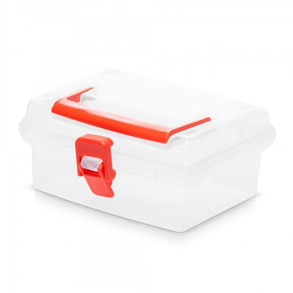 Kunststoff Aufbewahrungsbox mit Deckel - transparent - 15 x 14 x 7 cm