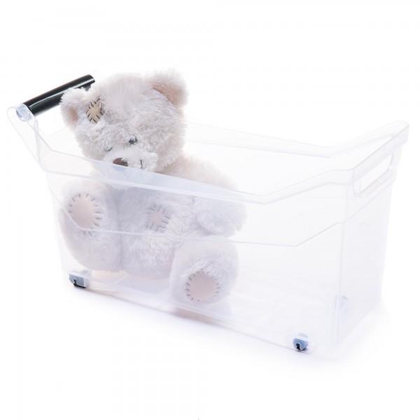 Kunststoff Aufbewahrungsbox mit Griffen und Rollen - transparent - 17 Liter