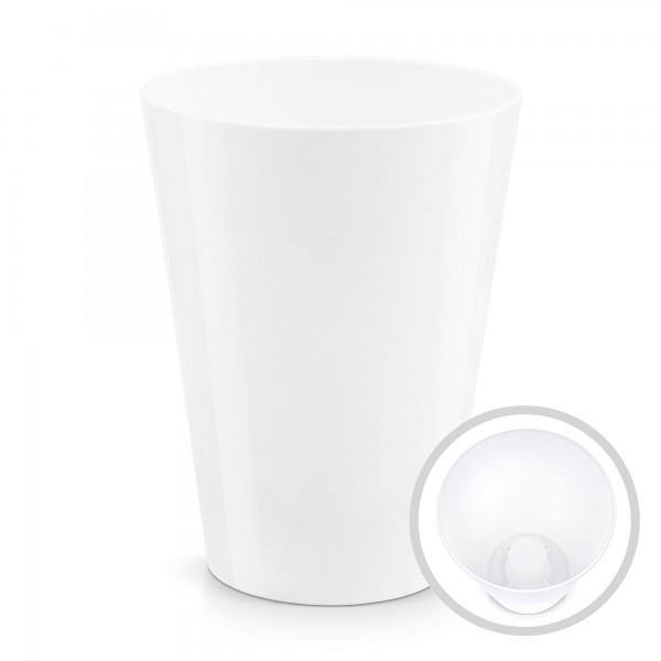 Blumentopf Coubi - Höhe 170 mm - glänzend weiß - rund