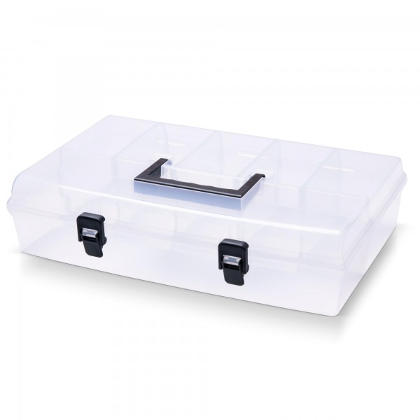 Kunststoff Sortimentskasten transparent mit 6 Fächern - 359x238x85 mm