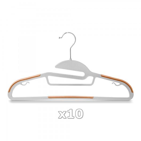 10 Stück - Kleiderbügel Kunststoff Anti-rutsch / extra dünn - Grau / Orange