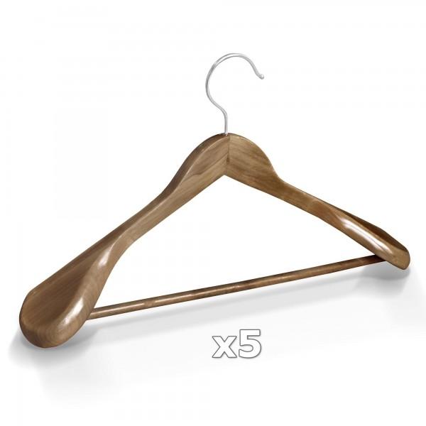 5 Stück Kleiderbügel Holz breite Schulterauflage mit Hosenstange - Antik