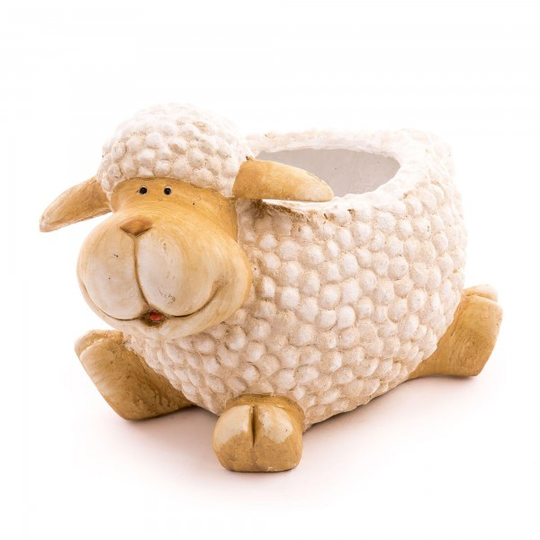 Schaf inkl. Pflanztopf Creme Optik - Höhe 27 cm - Ø 15 cm