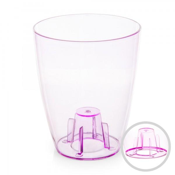 Orchideentopf - Durchmesser 132 mm - transparent / rosa - rund