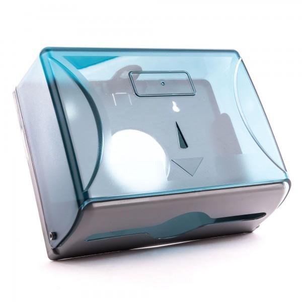 Kunststoff Papierspender blau halbtransparent - 20,5 x 26 x 10 cm