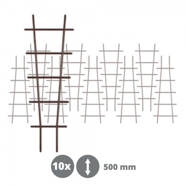 10 x Kunststoff Pflanzstütze in Leiterform - braun - 183 x 500 mm