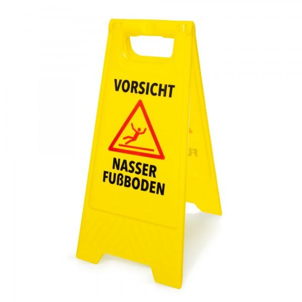 Warnschild: Vorsicht nasser Fußboden - deutsch - 295 x 610 mm - gelb