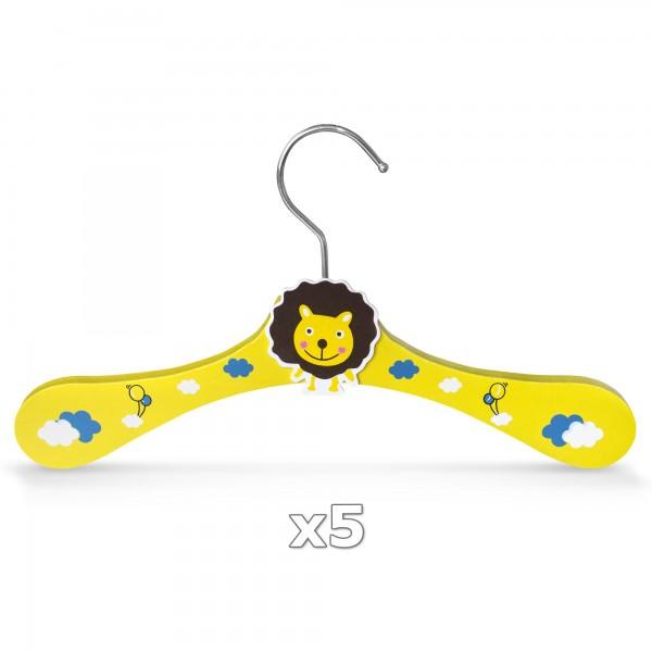5 Stück - Kinder-Kleiderbügel aus Holz - Motiv Löwe