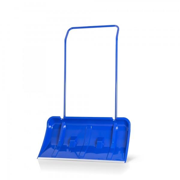 Schneeschieber 80 cm mit Alukante + Rollen blau