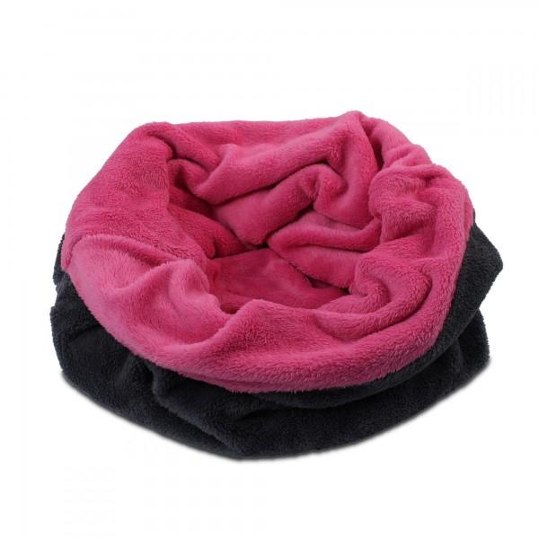 3in1 Decke - Schlafsack - Kissen für Hunde und Kleintiere - Fleece - Pink + Grau
