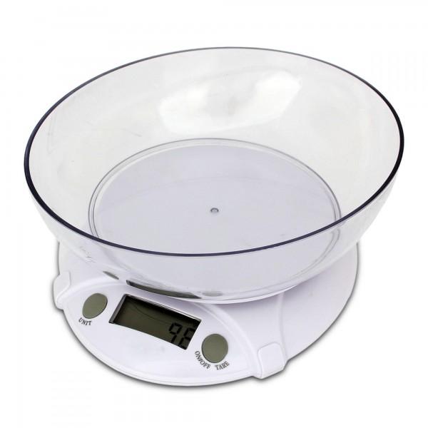 Digitale Küchenwaage 5 kg max inkl. Schüssel - weiß