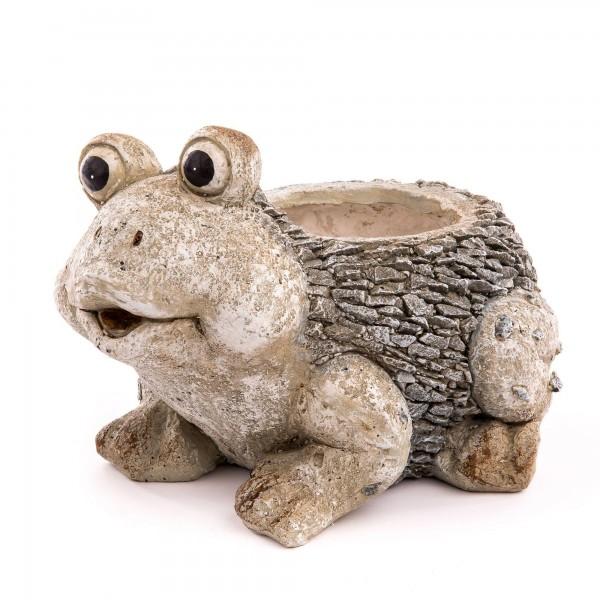 Frosch inkl. Pflanztopf Schieferstein Optik - 39 x 28 x 26 cm - Ø 15 cm