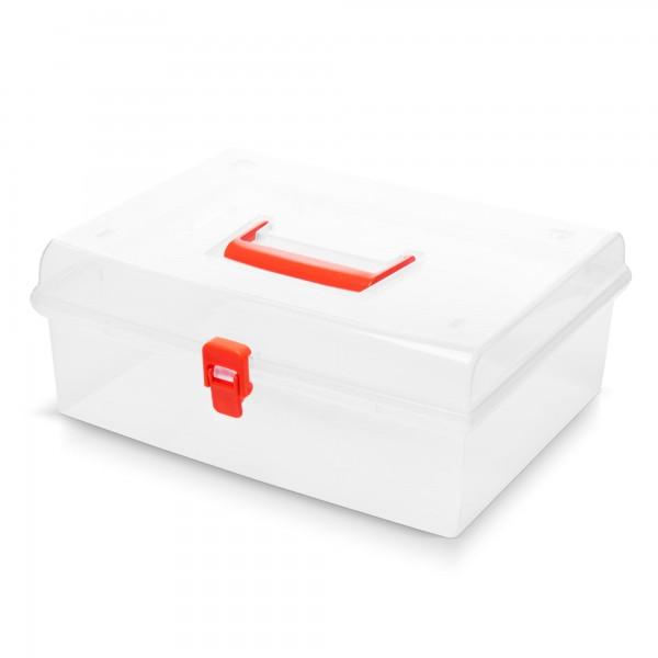 Kunststoff Aufbewahrungsbox mit Deckel - transparent - 29 x 25 x 12 cm