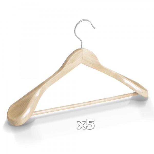 5 Stück Kleiderbügel Holz breite Schulterauflage mit Hosenstange - Natur