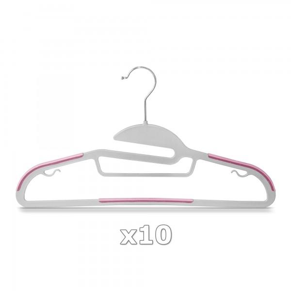 10 Stück - Kleiderbügel Kunststoff Anti-rutsch / extra dünn - Grau / Pink