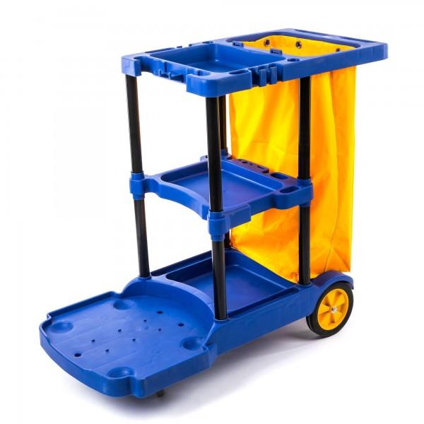 Fahrbarer Kunststoff Reinigungswagen mit 3 Etagen - blau