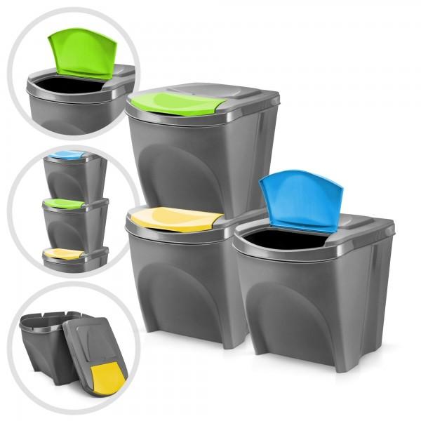3er Set Kunststoff Mülleimer - grau - 3 x 20 Liter - stapelbar