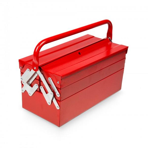 Metall Werkzeugkiste mit 5 Fächern rot - 46 x 22 x 31 cm