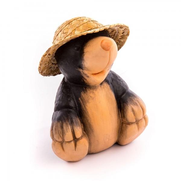 Dekofigur Maulwurf sitzend mit Strohhut - beige/braun - Größe 18 cm