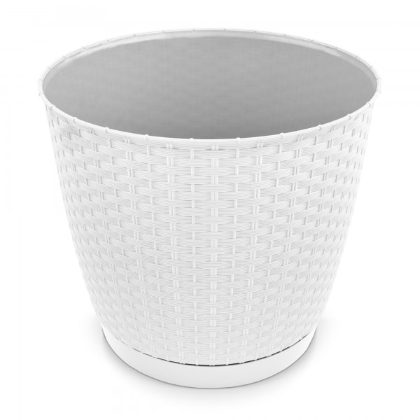 Kunststoff Blumentopf Rattan-Optik weiß Ø 145 mm + Untersetzer