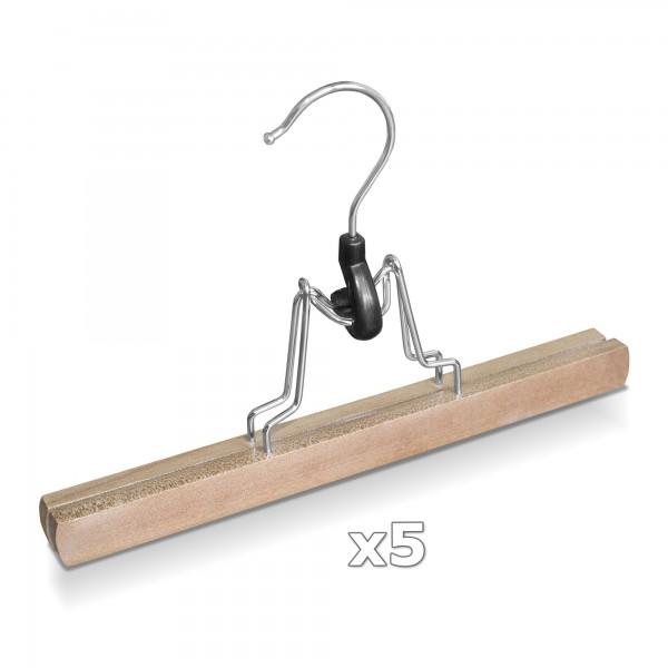 5 Stück - Hosen Klemmbügel Holz mit Filzbeschichtung - rutschfest