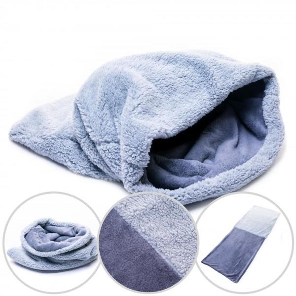 Hundedecke 3 in 1 XXL Fleece Hund Decke Schlafsack Kissen Bett Grau