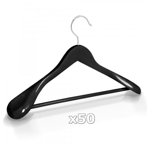 50 Stück Kleiderbügel Holz breite Schulterauflage mit Hosenstange - Schwarz