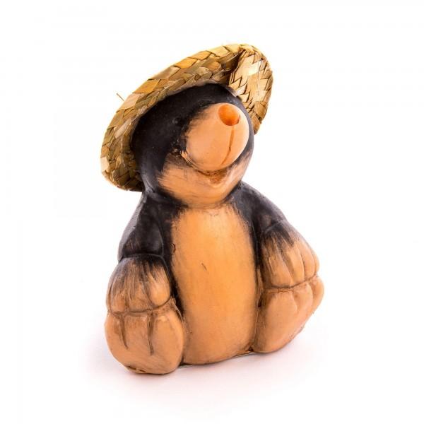 Dekofigur Maulwurf sitzend mit Strohhut - beige/braun - Größe 10,5 cm