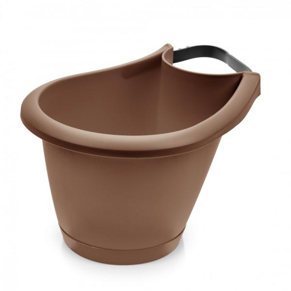 Blumentopf für Regen- und Fallrohre - 220 mm Durchmesser - braun
