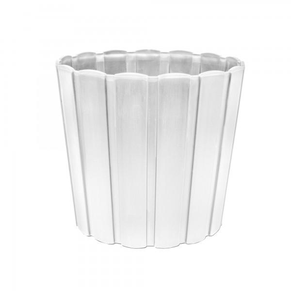 Kunststoff Blumentopf mit Brettmuster - 120 mm Durchmesser - weiß