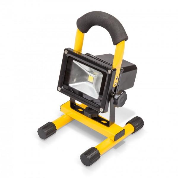 10 watt led baustrahler mit li ion akku 800 lm kaltwei lampen beleuchtung haushalt. Black Bedroom Furniture Sets. Home Design Ideas