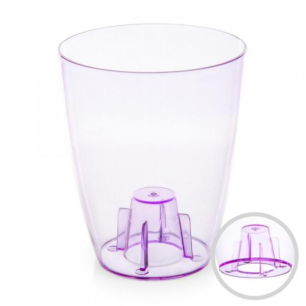 Orchideentopf - Durchmesser 132 mm - transparent / lila - rund