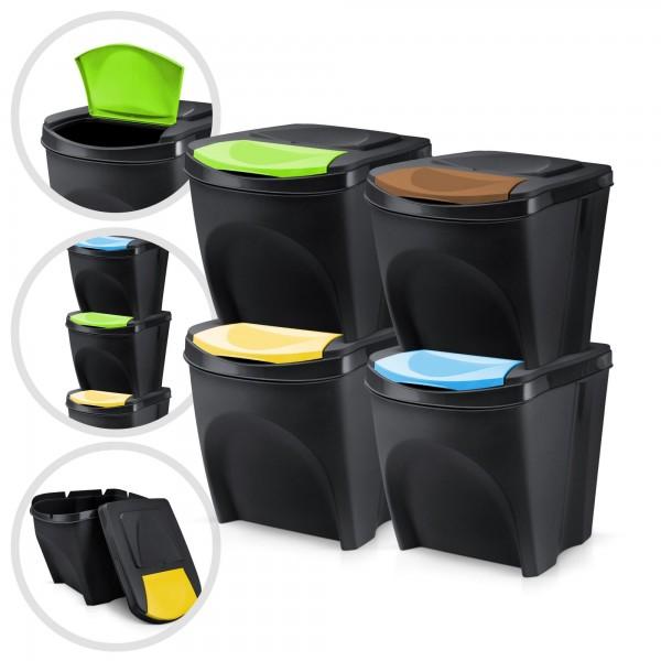 4er Set Kunststoff Mülleimer - schwarz - 4 x 20 Liter - stapelbar