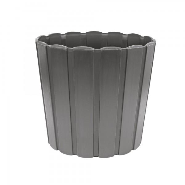 Kunststoff Blumentopf mit Brettmuster - 165 mm Durchmesser - grau