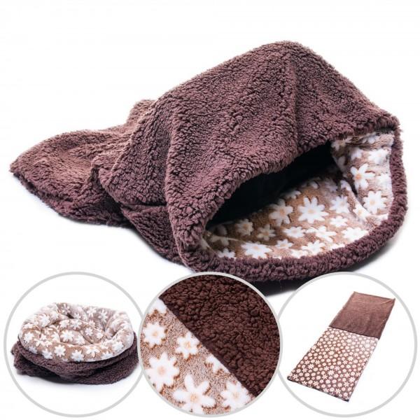 3in1 Decke - Schlafsack - Kissen für Katzen & Kleintiere - Braun + Motiv Blumen