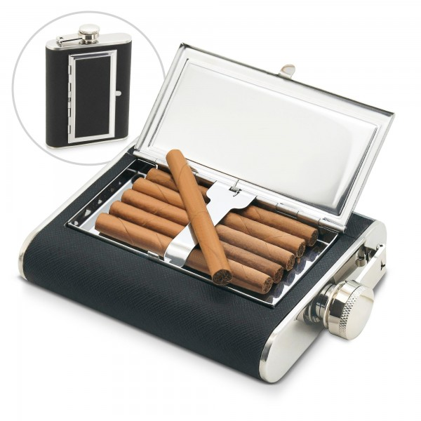 Trinkflasche mit Zigarrenfach - Edelstahl - 175 ml