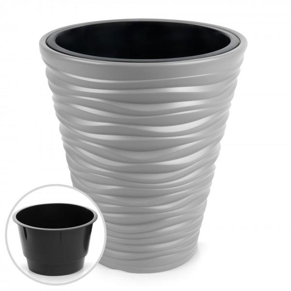 Kunststoff Blumentopf Wüstensand Optik + Einsatz - steingrau Ø 345 mm