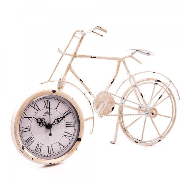 """Retro Tischuhr """"Fahrrad"""" - Metall - creme - 21 cm"""