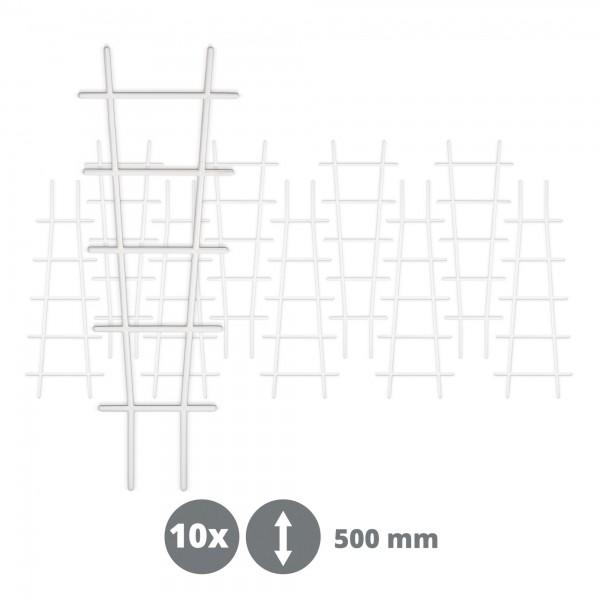 10 x Kunststoff Pflanzstütze in Leiterform - weiß - 183 x 500 mm