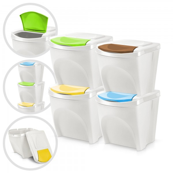 4er Set Kunststoff Mülleimer - weiß - 4 x 20 Liter - stapelbar