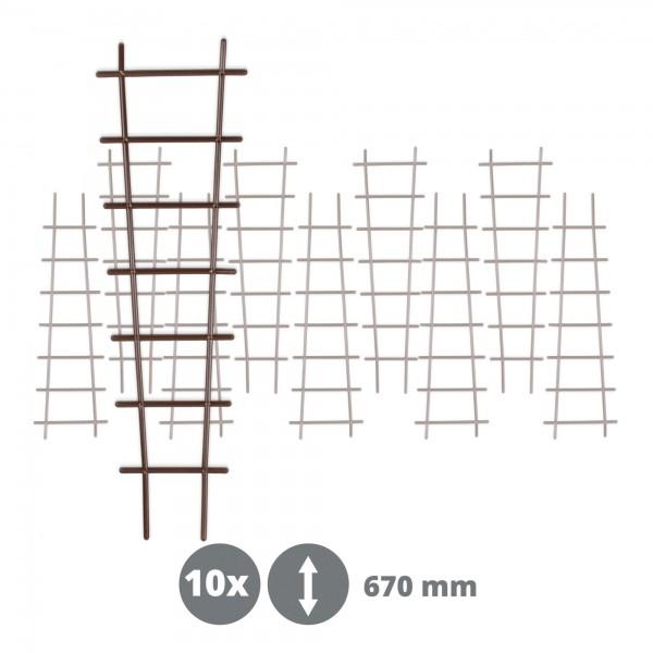 10 x Kunststoff Pflanzstütze in Leiterform - braun - 200 x 670 mm