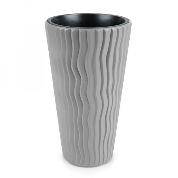 Kunststoff Blumentopf Wüstensand schmal + Einsatz - steingrau Ø 297 mm