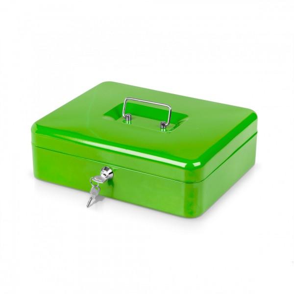 Geldkassette grün mit Münzeinsatz + 2 Schlüssel - 25 x 18 x 9 cm