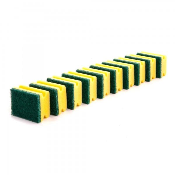 10 Küchenschwämme doppelseitig gelb / grün - 90 x 70 x 45 mm