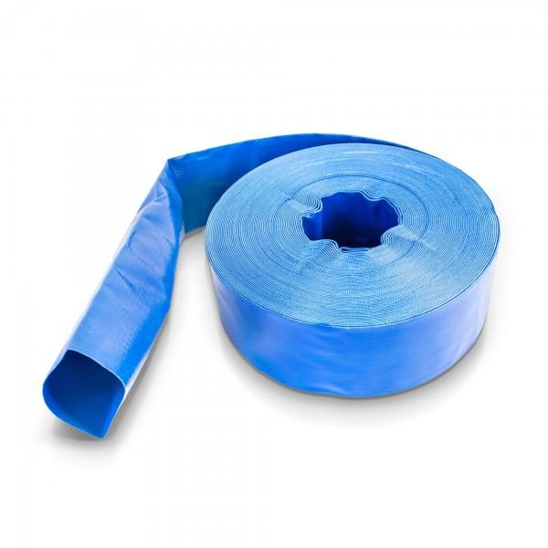 50 Meter - PVC Flachschlauch blau - 3 Zoll - wetterfest / UV-beständig